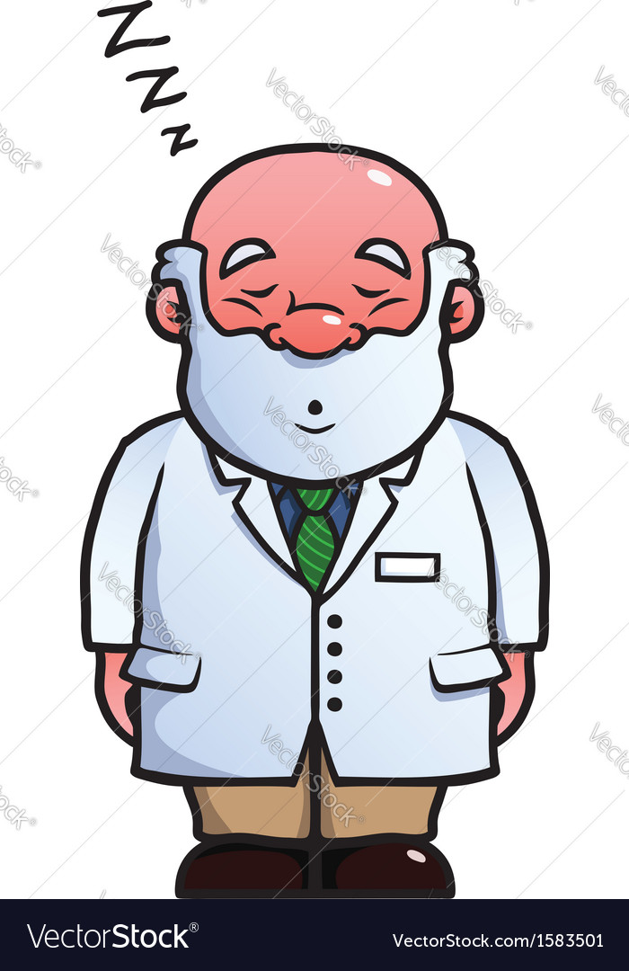 Scientist sleeping and snoring vector | Price: 1 Credit (USD $1)