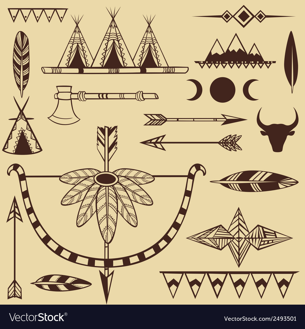 Set of american indians objects vector | Price: 1 Credit (USD $1)