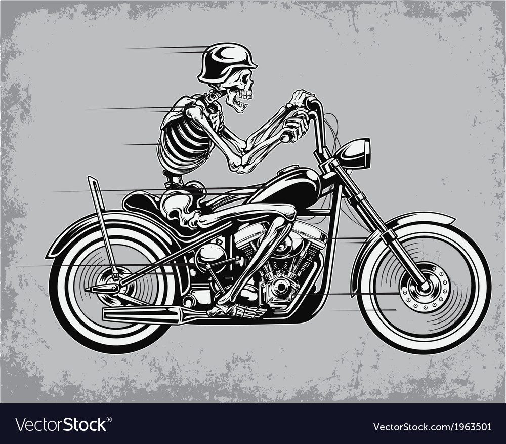 Skeleton riding motorcycle vector | Price: 1 Credit (USD $1)