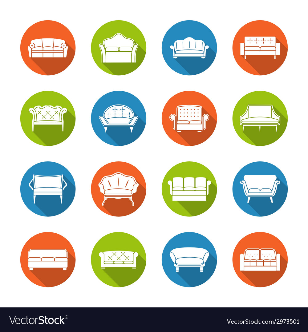 Sofa icons flat vector | Price: 1 Credit (USD $1)