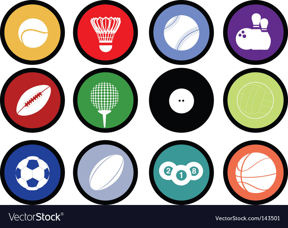 Sports buttons coloured vector | Price: 1 Credit (USD $1)