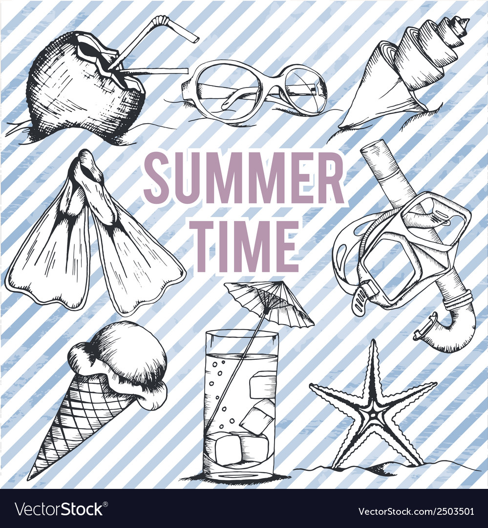Summer retro hand drawn design set vector | Price: 1 Credit (USD $1)