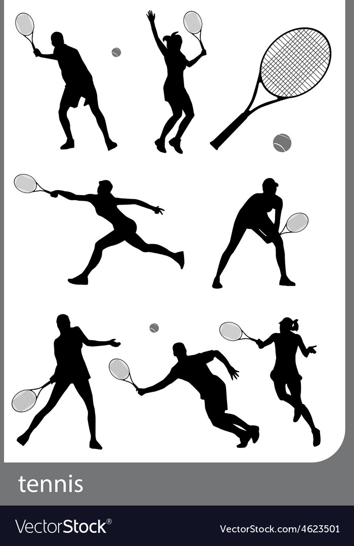 Tennis silhouette set isolated vector | Price: 1 Credit (USD $1)