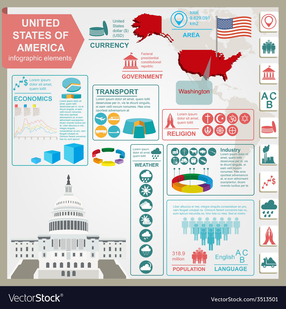 United states of america infographics statistical vector
