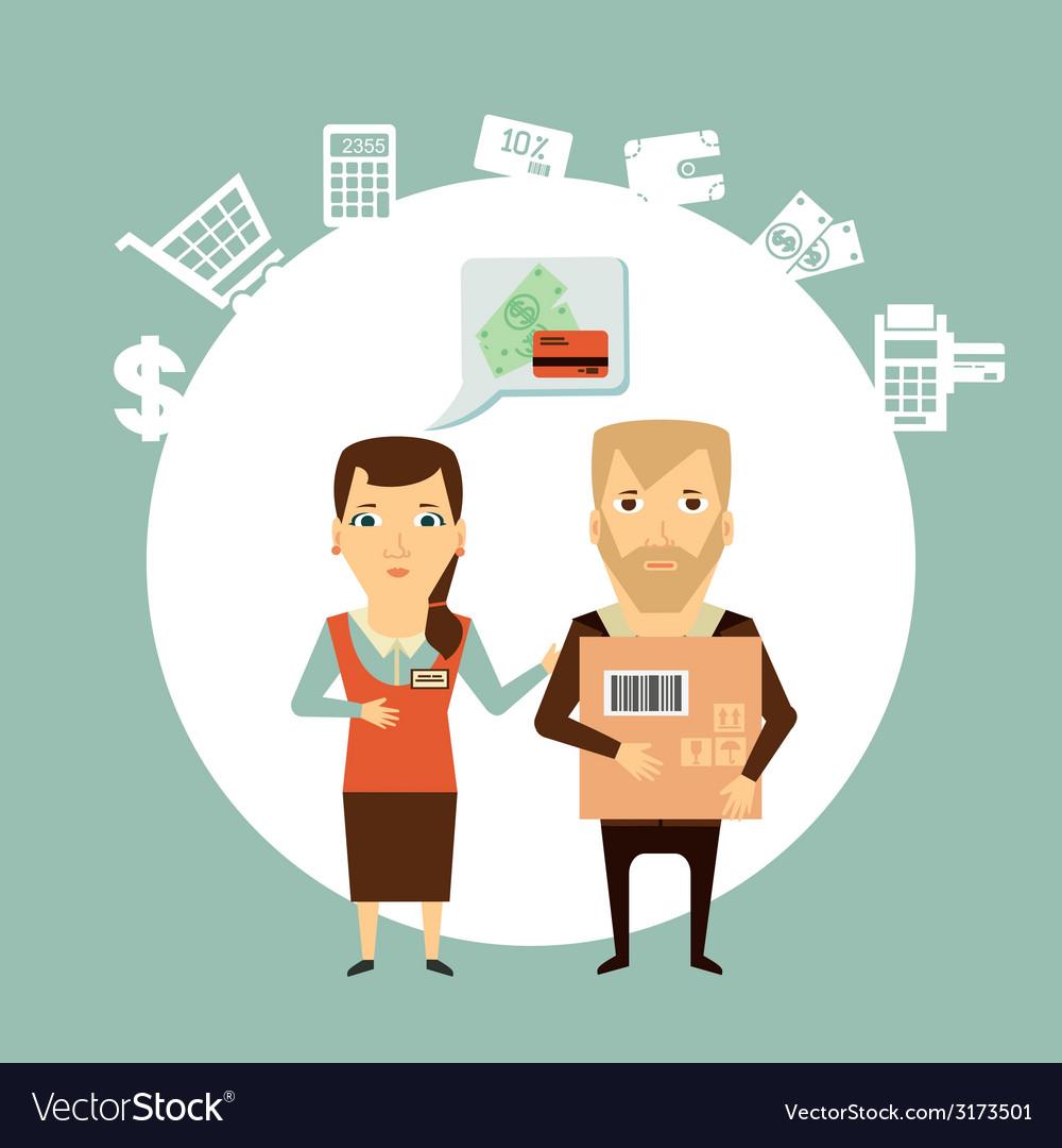 Vendor serves customers vector   Price: 1 Credit (USD $1)