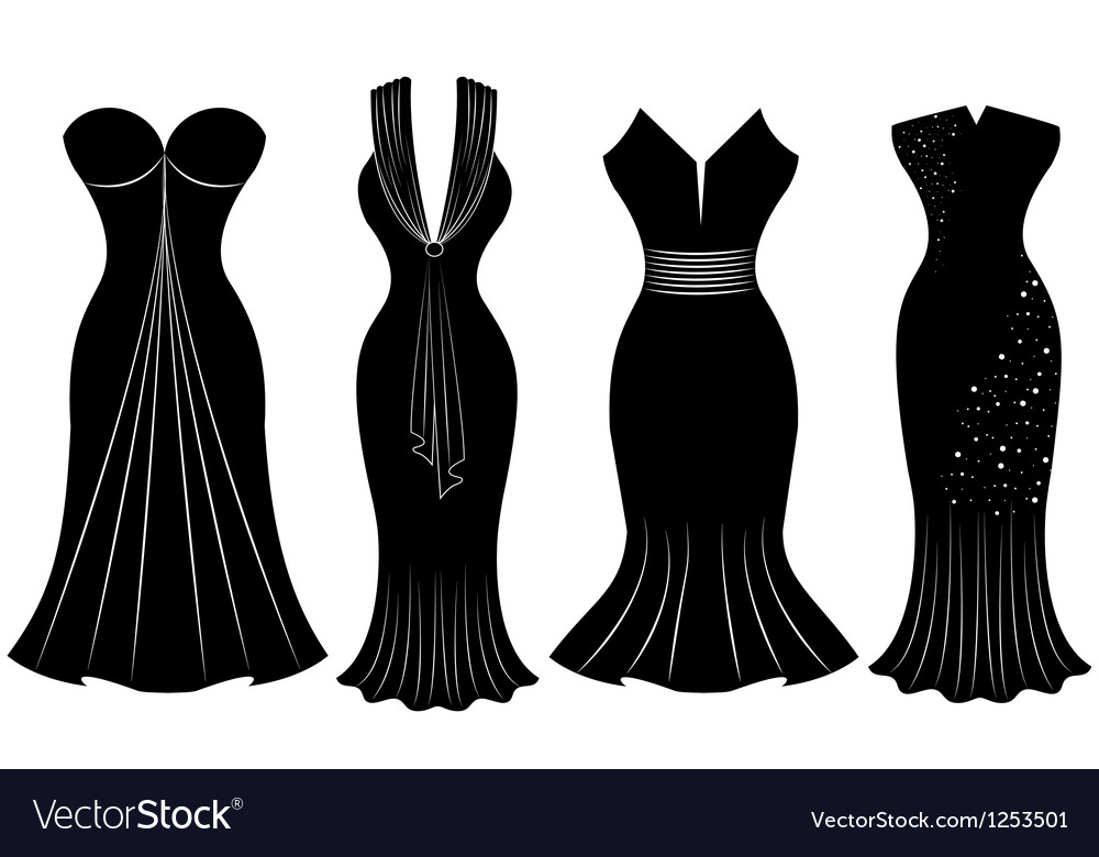 Woman party dress silhouette vector | Price: 1 Credit (USD $1)