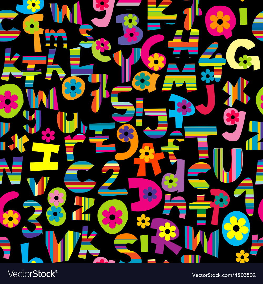 Alphabet set and numbers seamless background vector | Price: 1 Credit (USD $1)