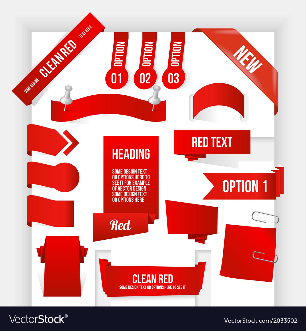 Bundle of red web elements corner and ribbon vector | Price: 1 Credit (USD $1)