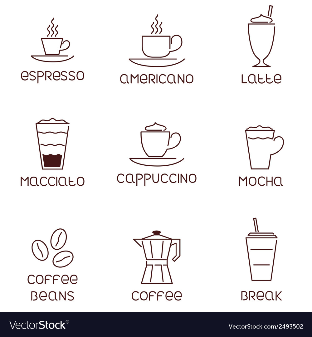 Collection of linear coffee icons with vector | Price: 1 Credit (USD $1)