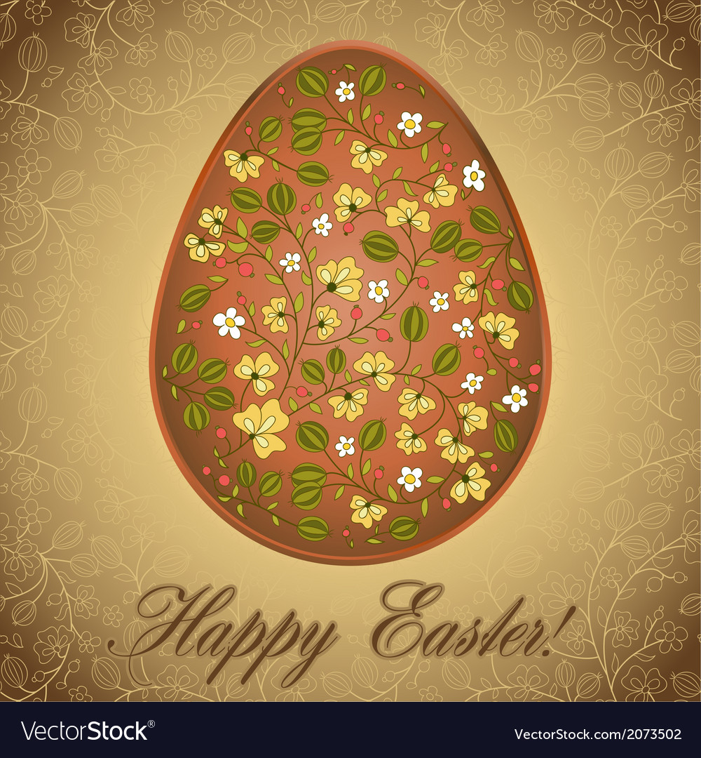 Easter egg with gooseberry gold brown greeting vector | Price: 1 Credit (USD $1)