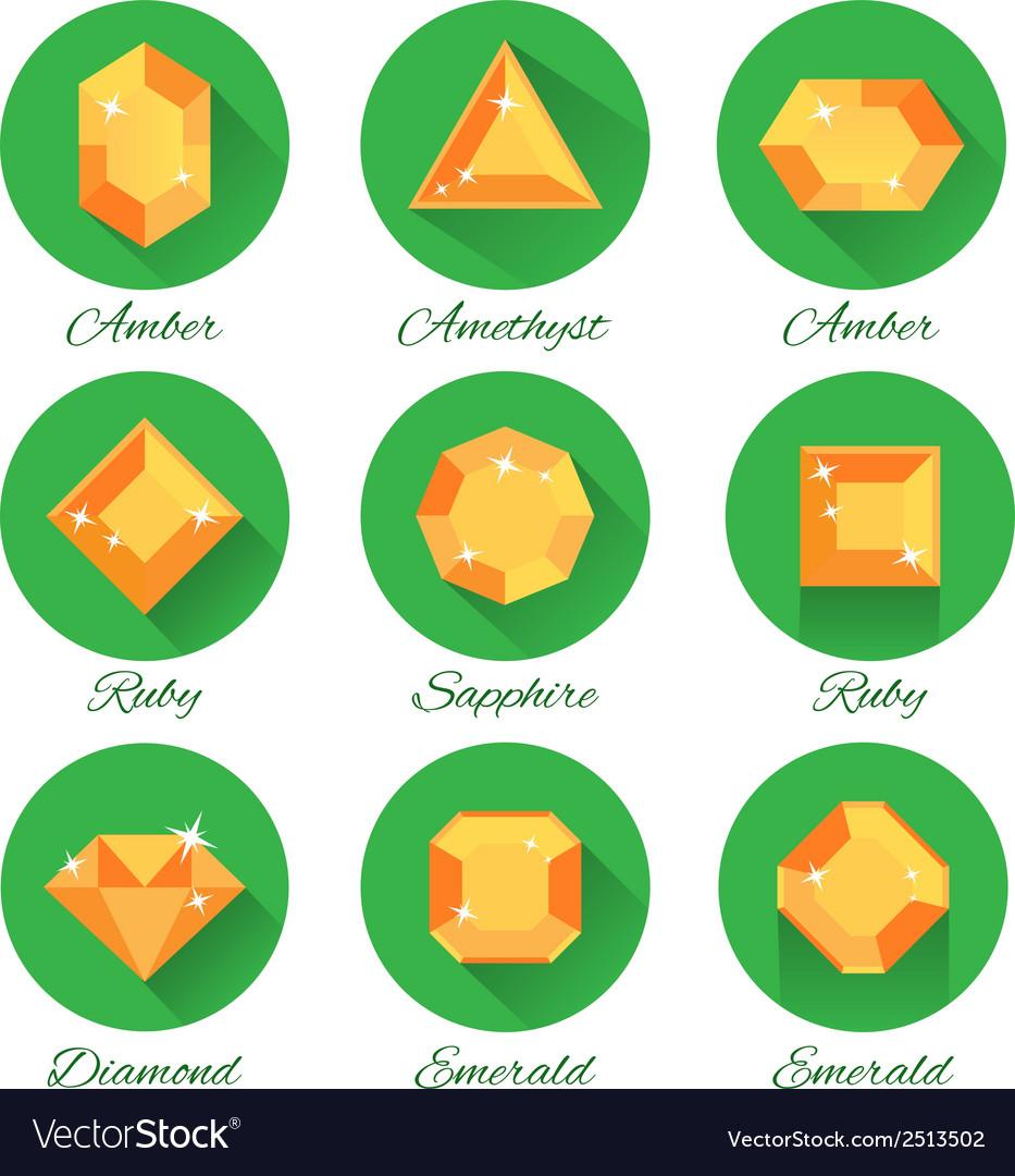 Gems icons set vector | Price: 1 Credit (USD $1)