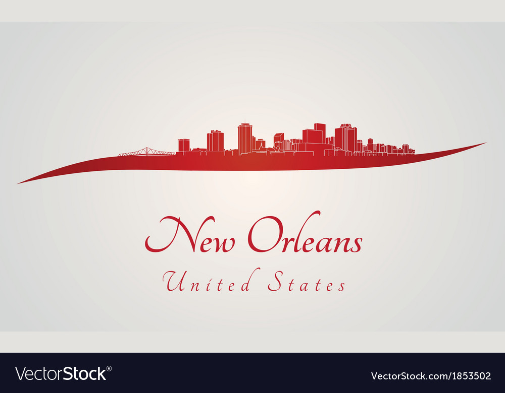 New orleans skyline in red vector | Price: 1 Credit (USD $1)