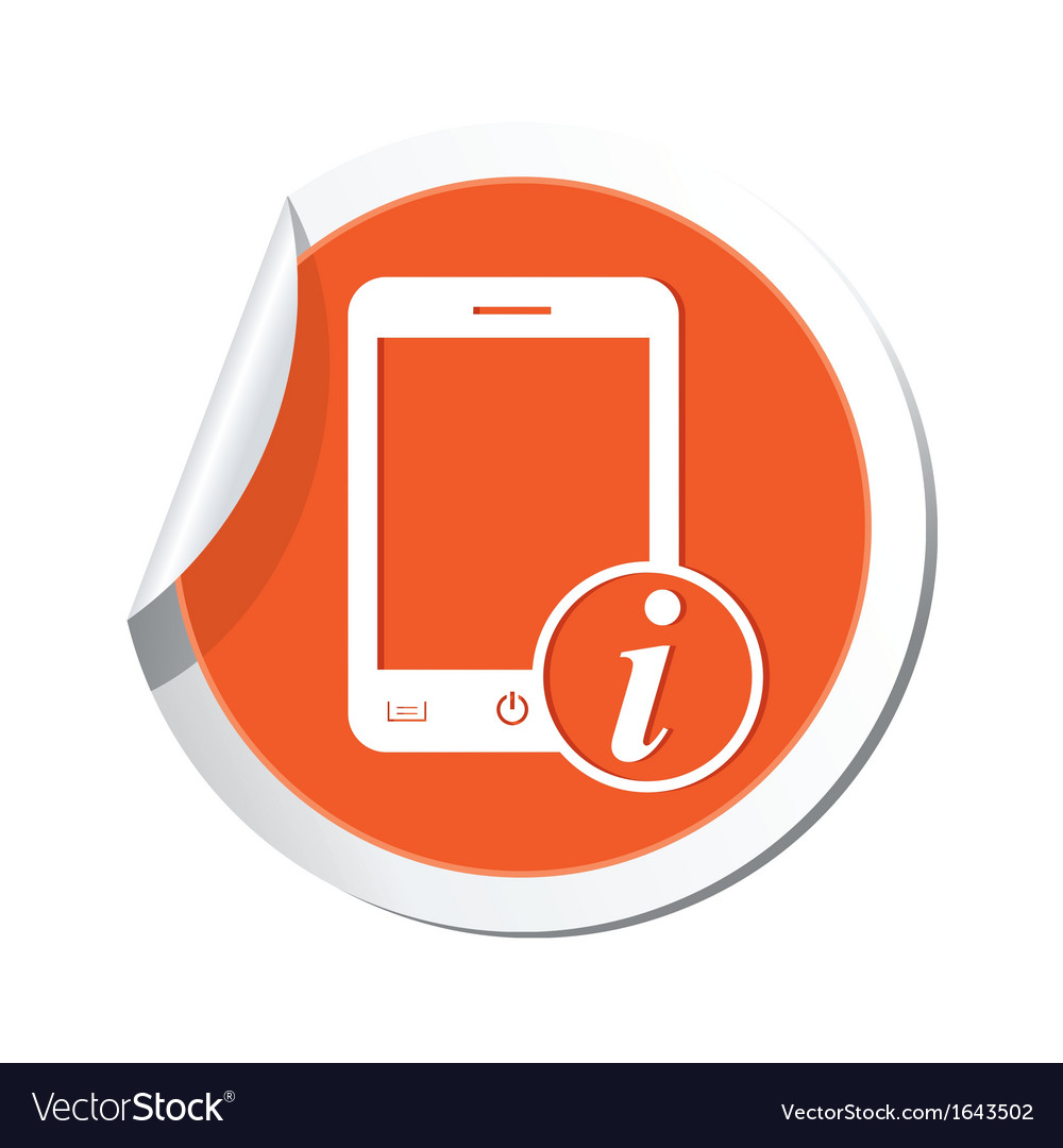Phone information icon orange sticker vector | Price: 1 Credit (USD $1)