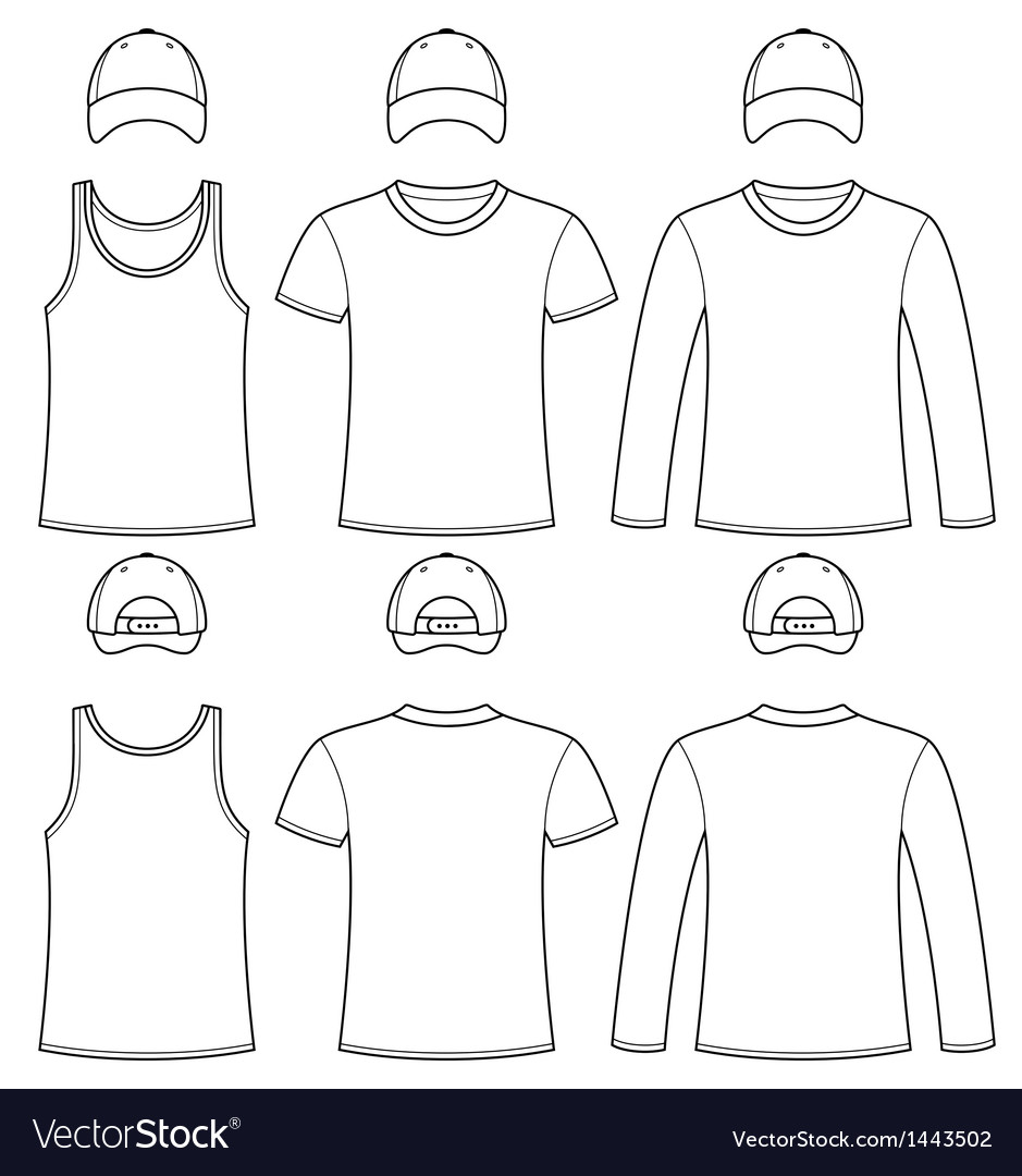 Singlet t-shirt long-sleeved t-shirt and cap vector | Price: 1 Credit (USD $1)