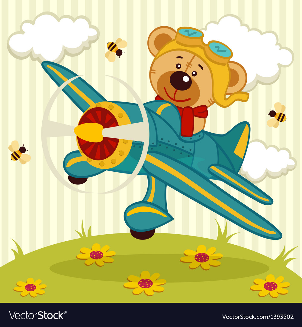Teddy bear pilot vector | Price: 3 Credit (USD $3)