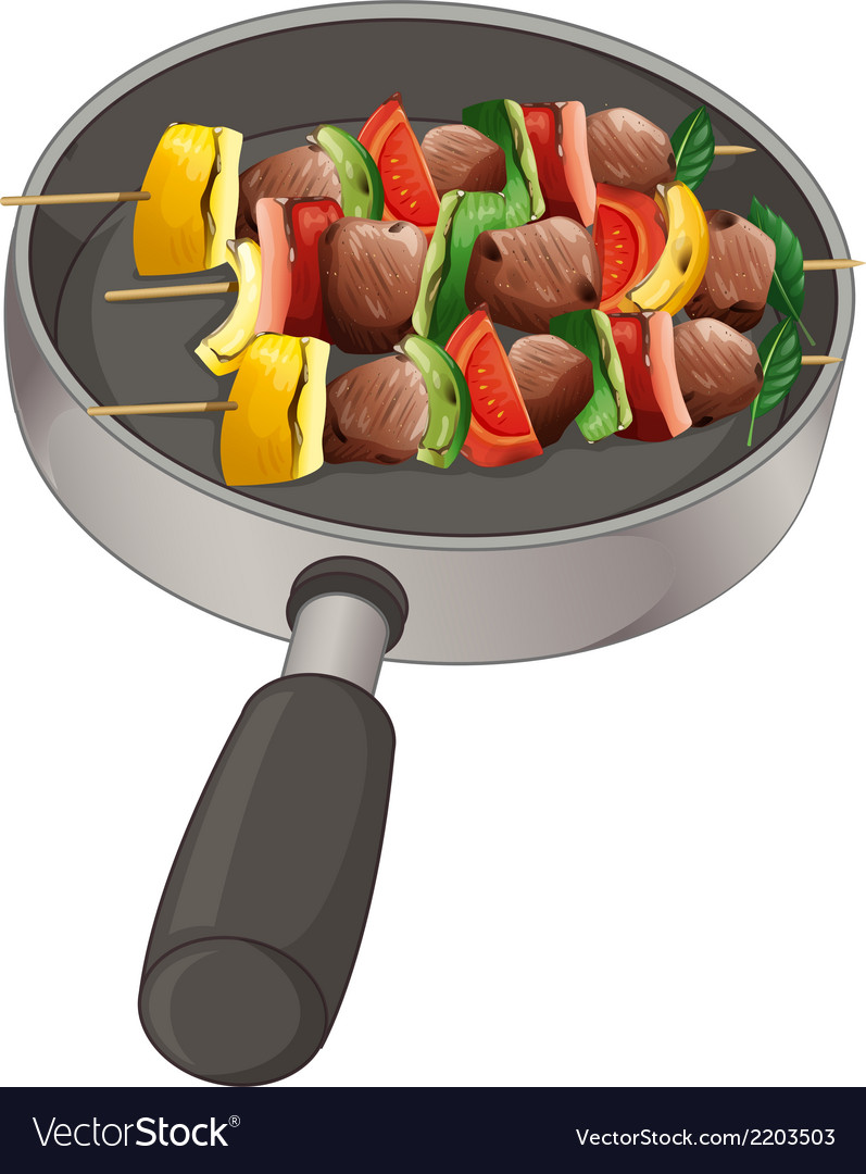A pan with foods on stick vector | Price: 1 Credit (USD $1)