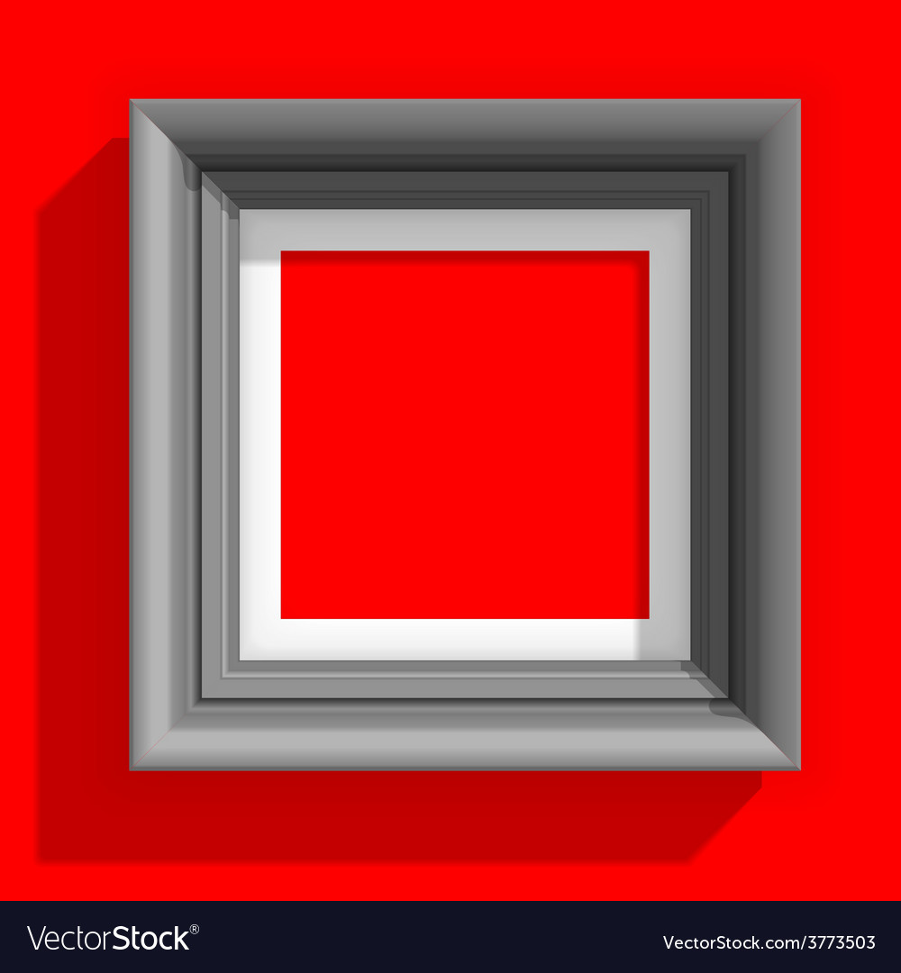 Empty picture frames isolated on the red vector | Price: 1 Credit (USD $1)