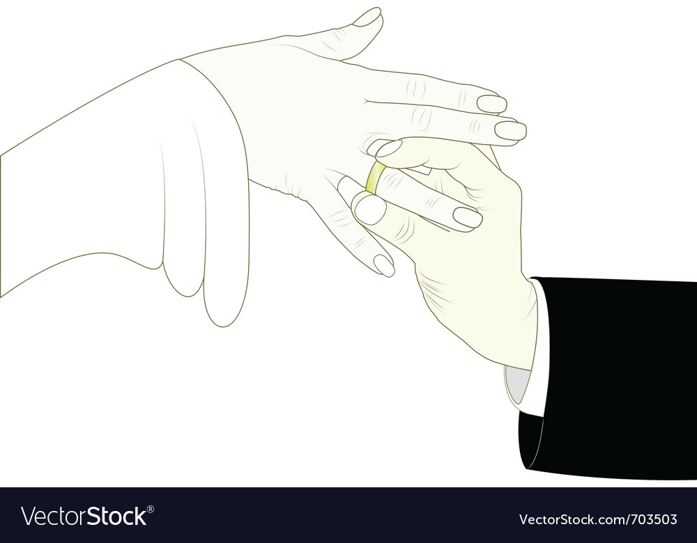 Groom putting ring on brides finger vector | Price: 1 Credit (USD $1)
