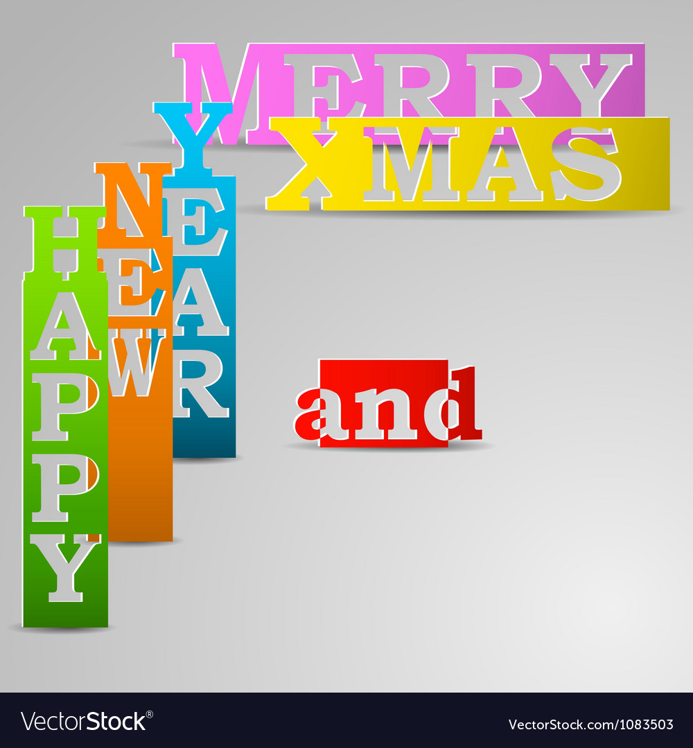 Happy new year and merry xmas paper strips vector | Price: 1 Credit (USD $1)