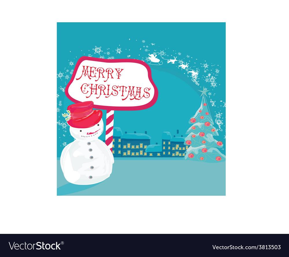 Happy snowman card vector | Price: 1 Credit (USD $1)