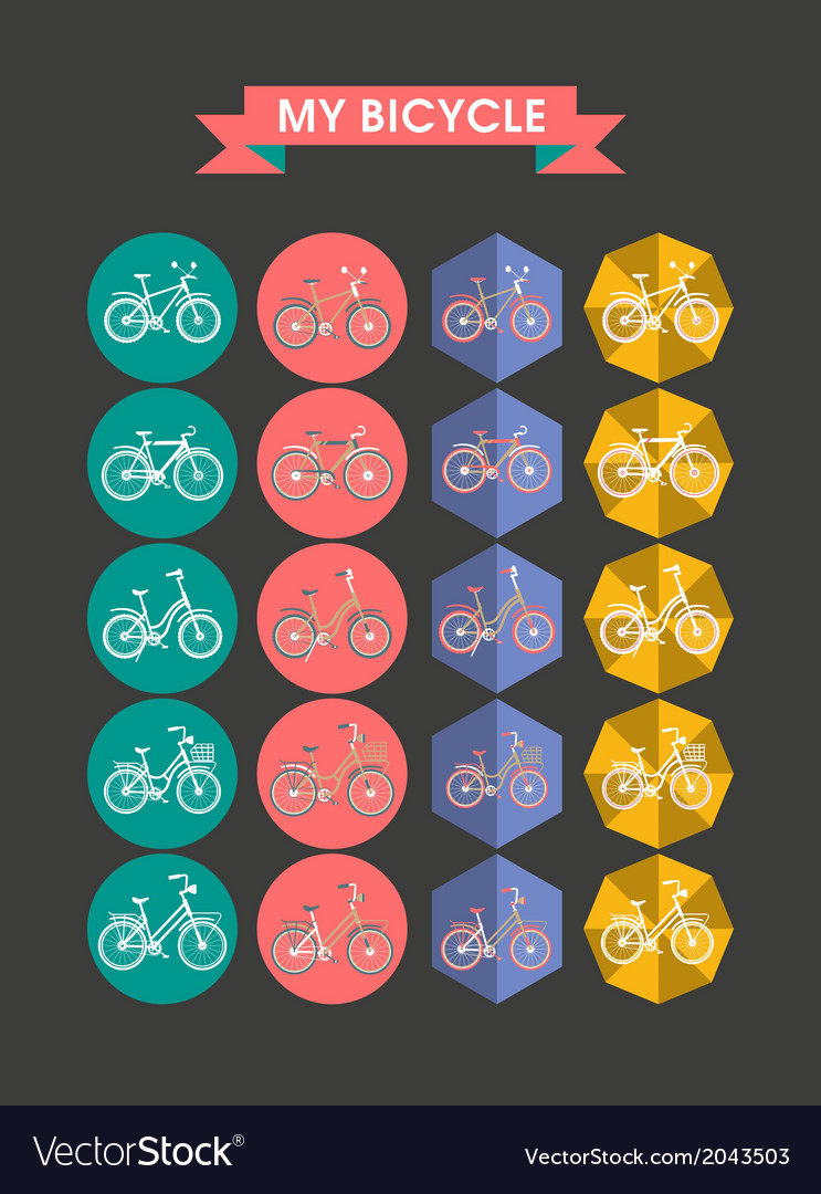 Modern icons bicycle flat vector | Price: 1 Credit (USD $1)