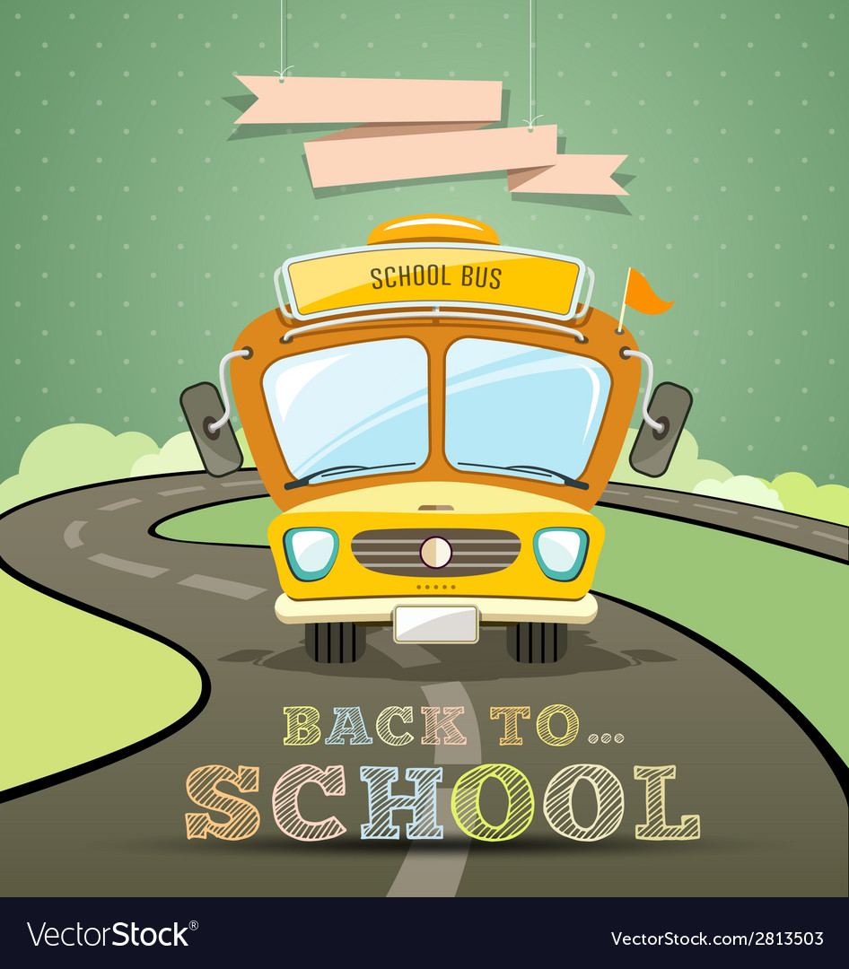 School bus concept design background vector | Price: 1 Credit (USD $1)