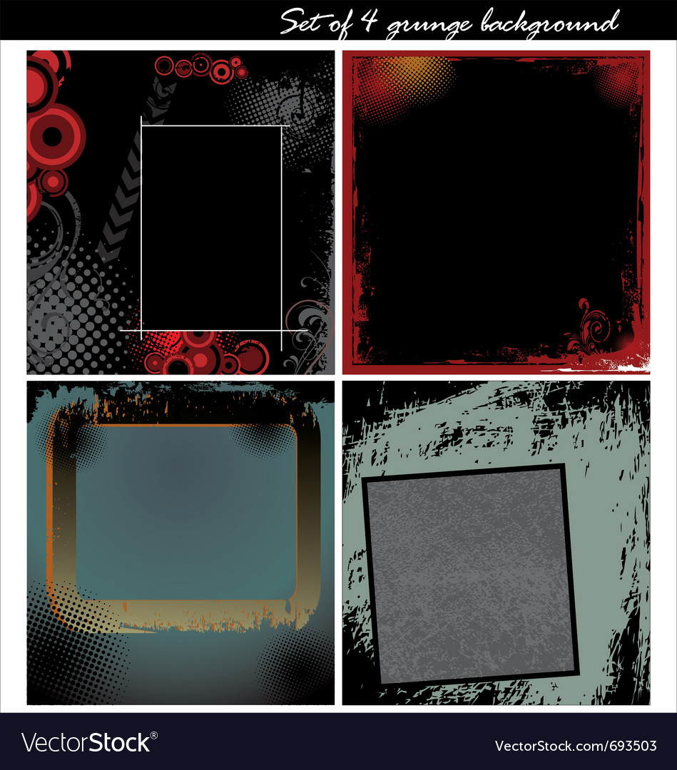 Set of 4 grunge background vector | Price: 1 Credit (USD $1)