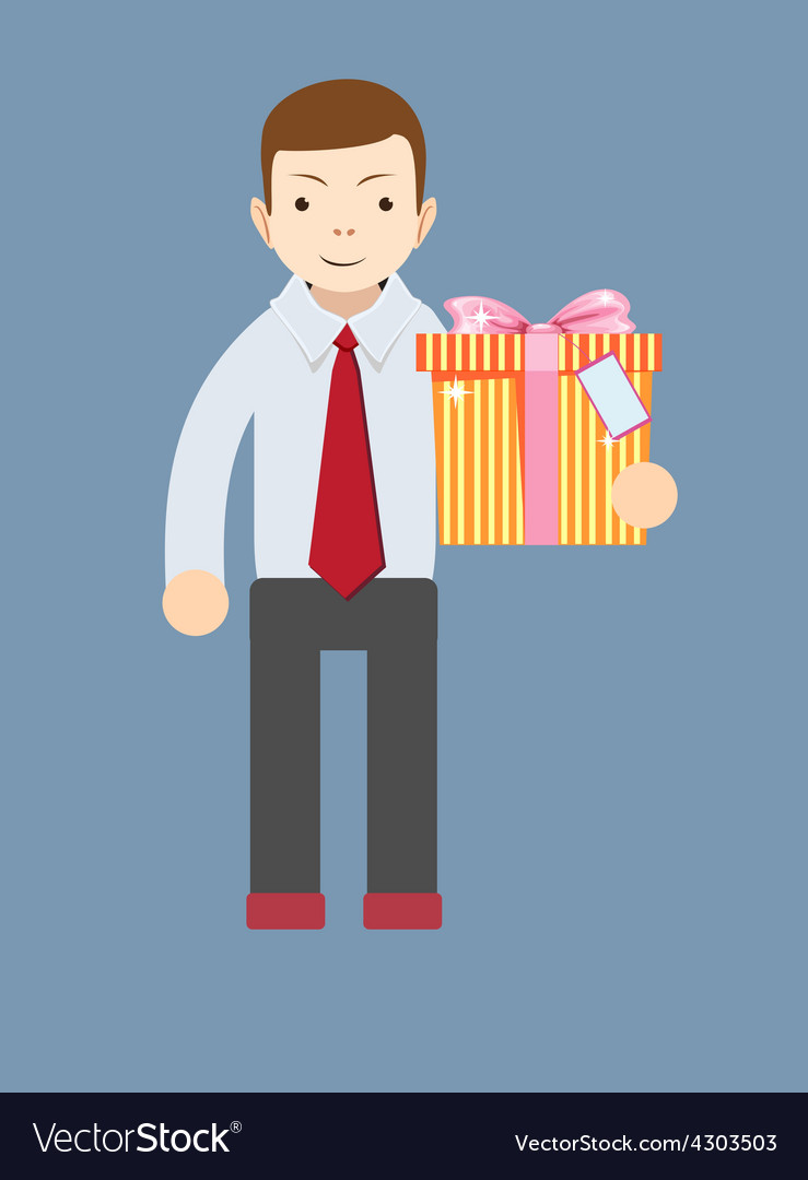 Young man holding a gift vector   Price: 1 Credit (USD $1)