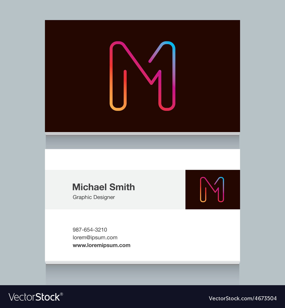 Business card letter m vector   Price: 1 Credit (USD $1)