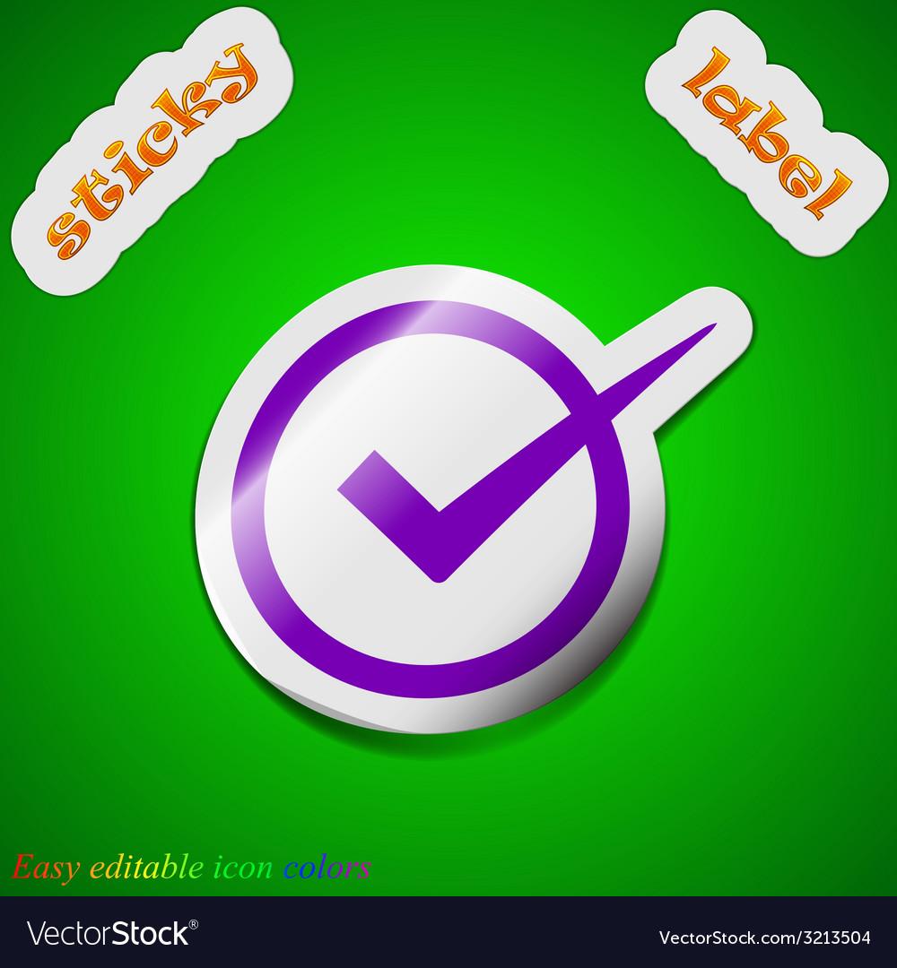 Check mark icon sign symbol chic colored sticky vector | Price: 1 Credit (USD $1)
