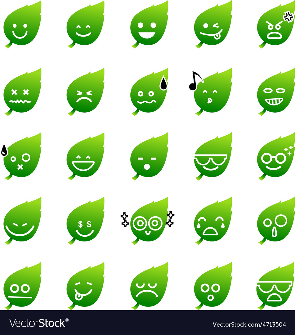 Collection of difference emoticon icon of leaf on vector | Price: 1 Credit (USD $1)