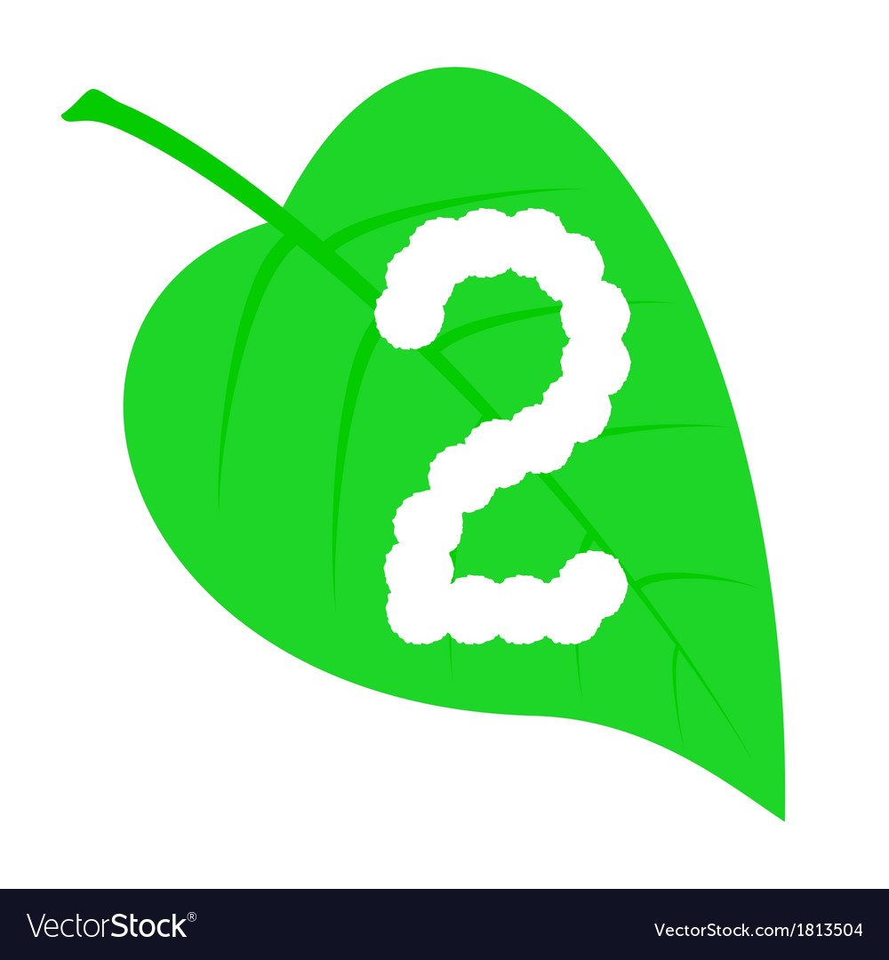 Figure two on a green leaf vector | Price: 1 Credit (USD $1)