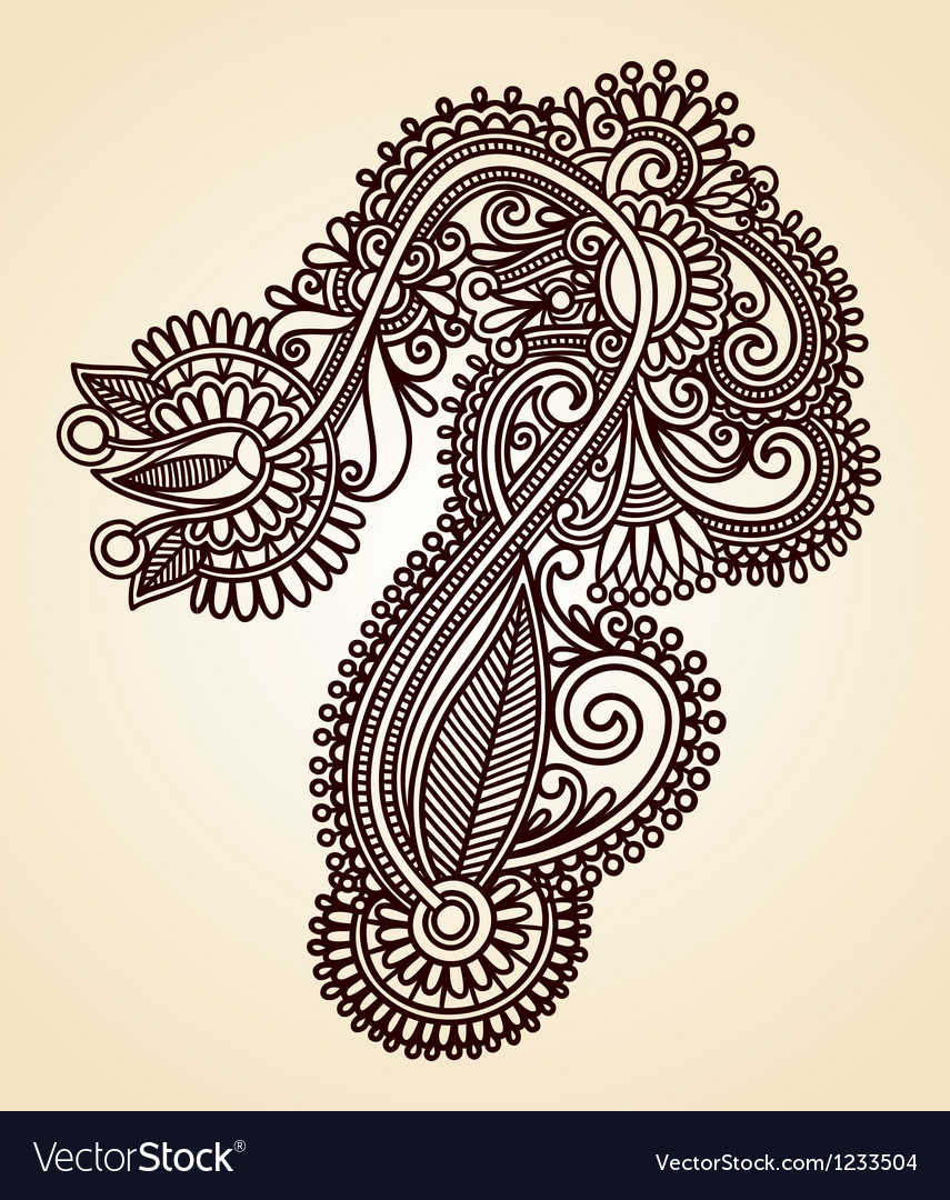 Hand draw line art ornate flower design vector   Price: 1 Credit (USD $1)