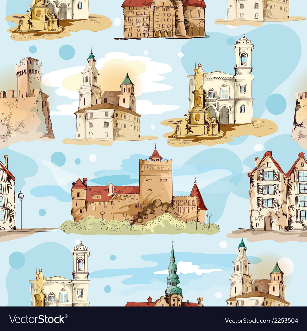 Old city sketch seamless pattern vector | Price: 1 Credit (USD $1)