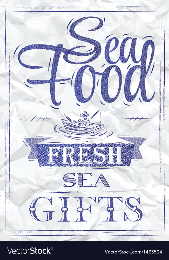 Poster sea food fresh sea gifts crumpled paper vector | Price: 1 Credit (USD $1)