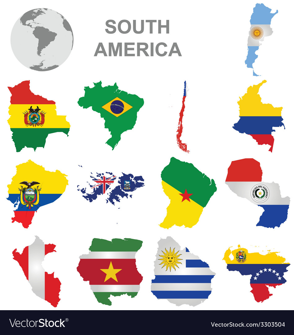 South american countries vector | Price: 1 Credit (USD $1)
