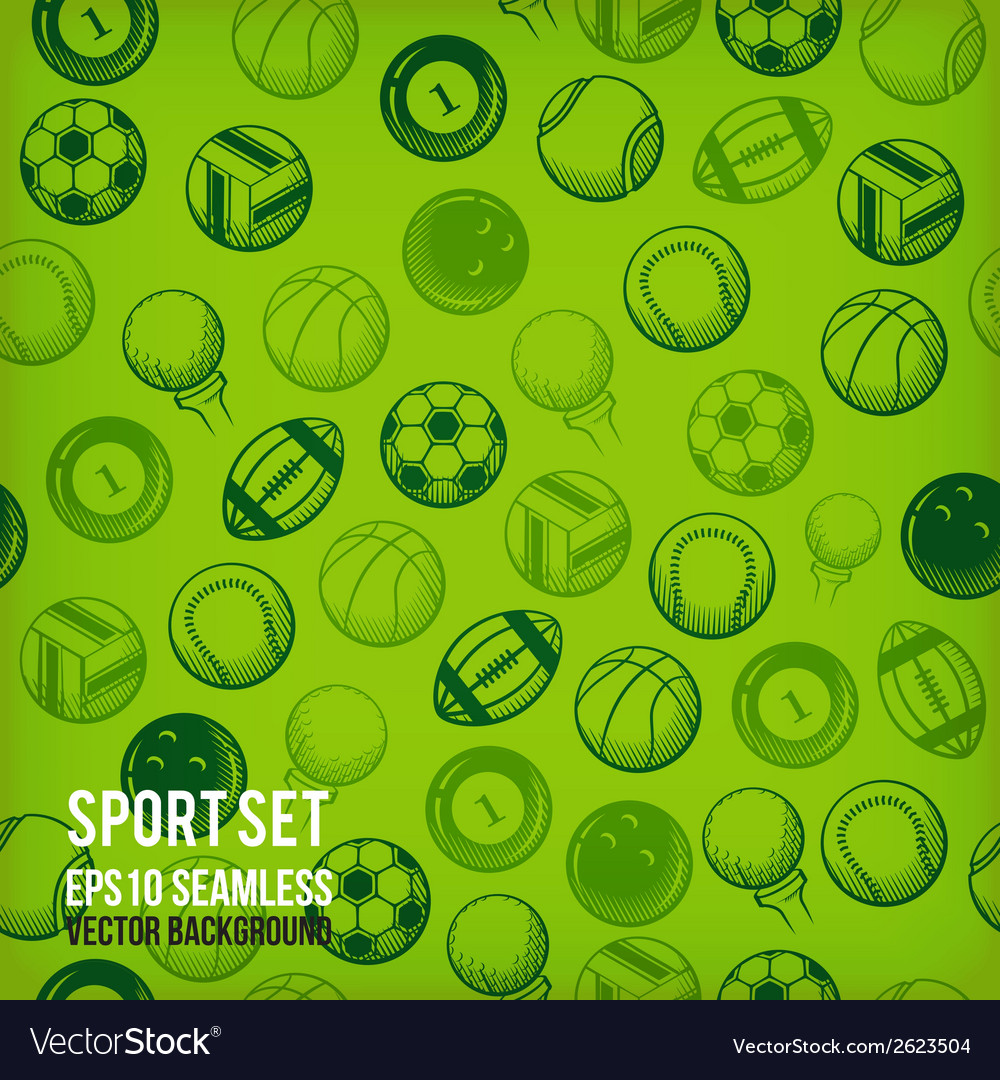 Sports seamless background sports equipment vector | Price: 1 Credit (USD $1)