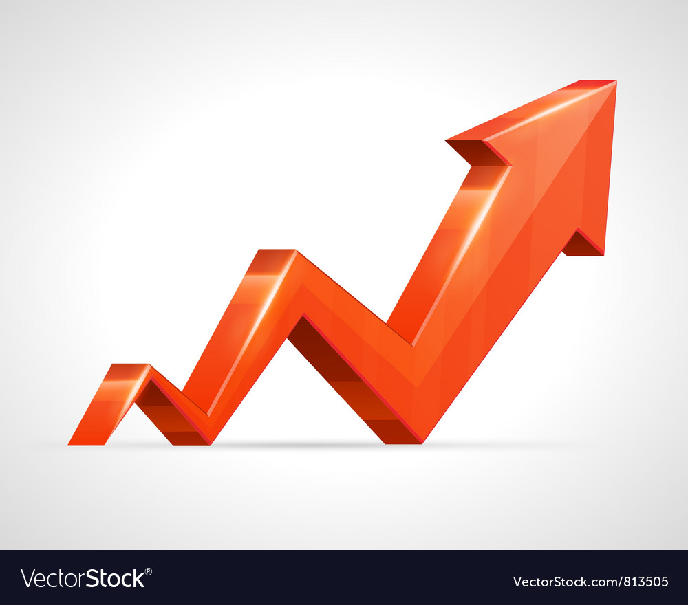3d growth arrow graph vector | Price: 1 Credit (USD $1)