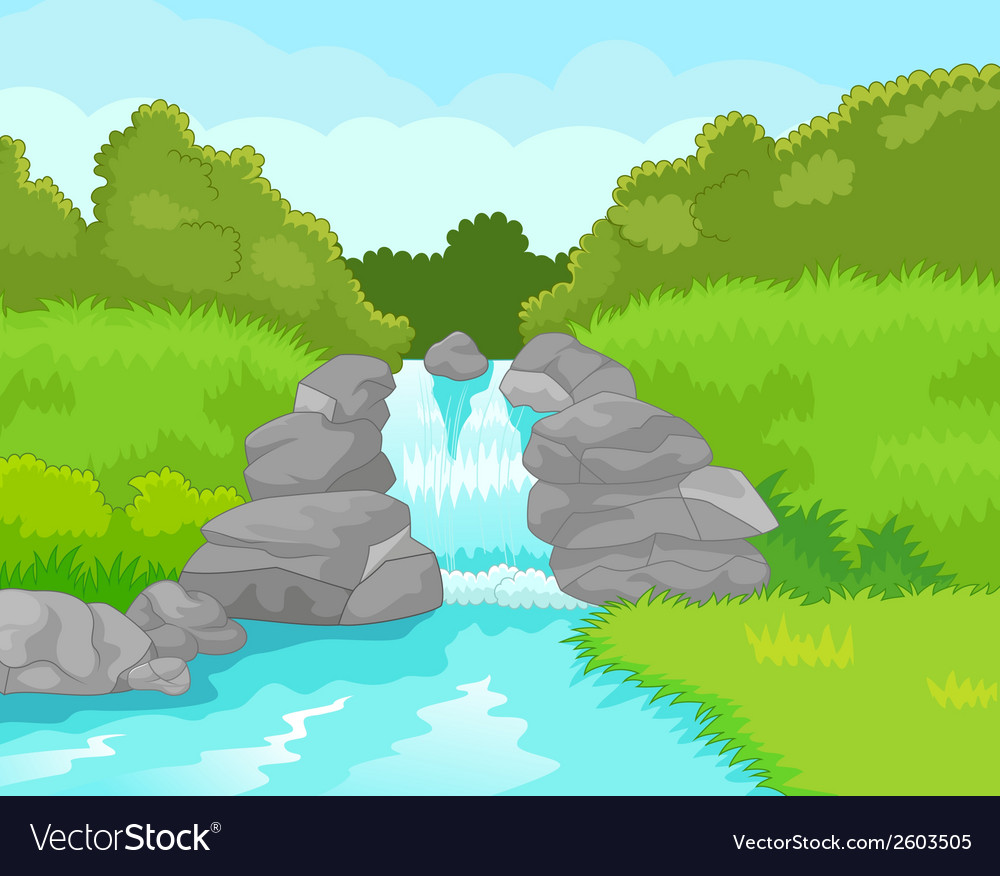 Beautiful waterfall cartoon vector | Price: 1 Credit (USD $1)