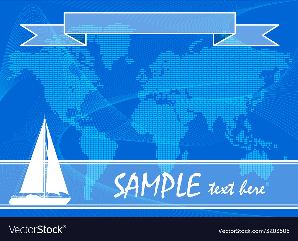 Blue travel background with yacht vector | Price: 1 Credit (USD $1)