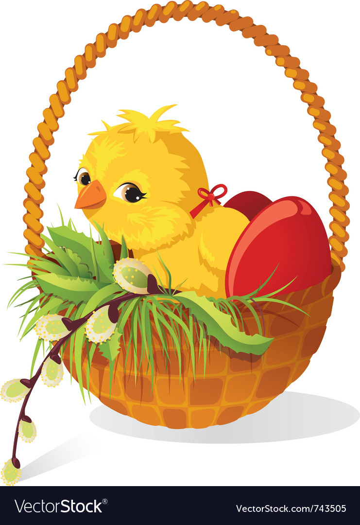 Easter card chicken and eggs in basket with sprig vector | Price: 1 Credit (USD $1)