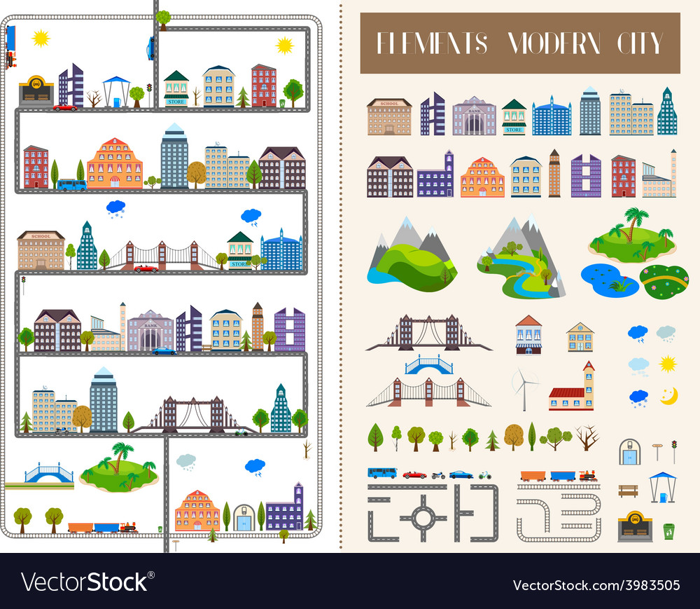 Elements of the modern city or village - stock vector | Price: 1 Credit (USD $1)