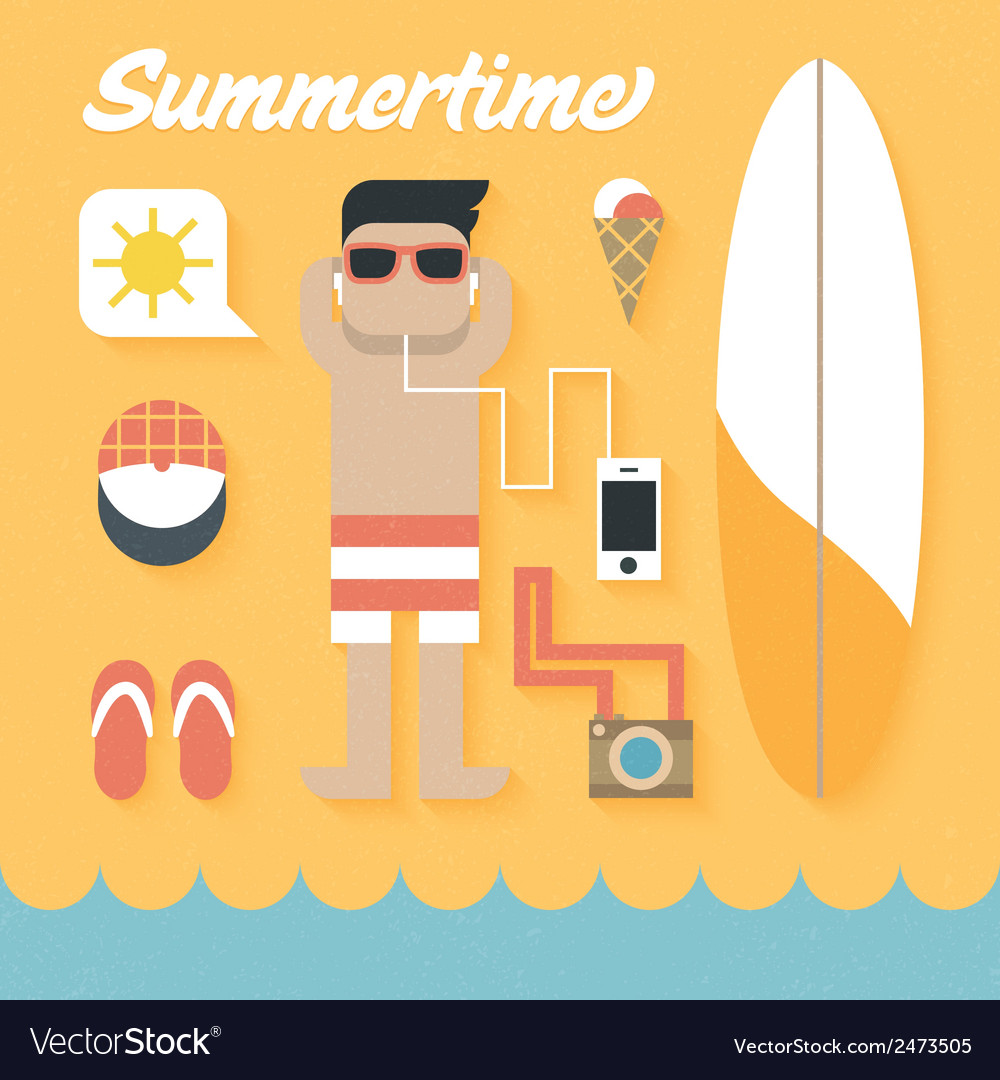 Flat icons set of summer holiday vector | Price: 1 Credit (USD $1)