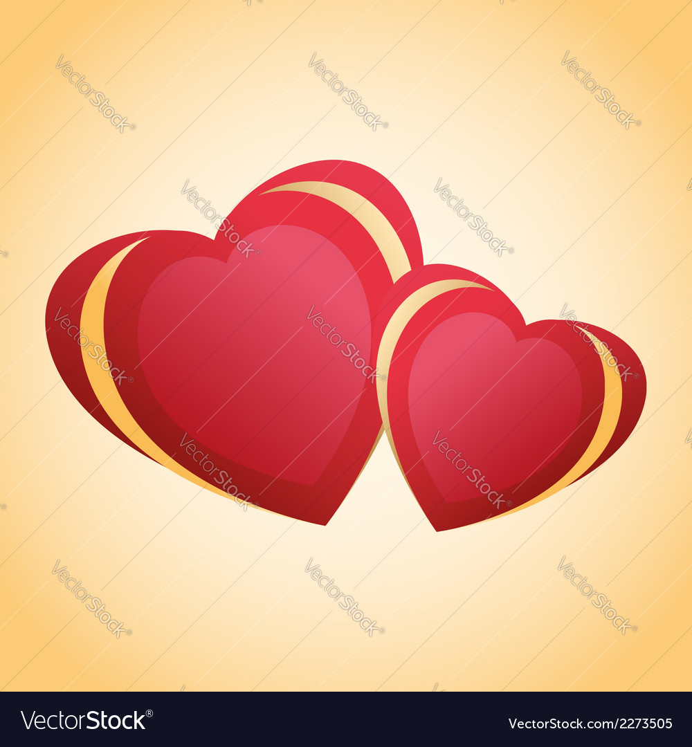 Greeting card with two red golden hearts vector | Price: 1 Credit (USD $1)