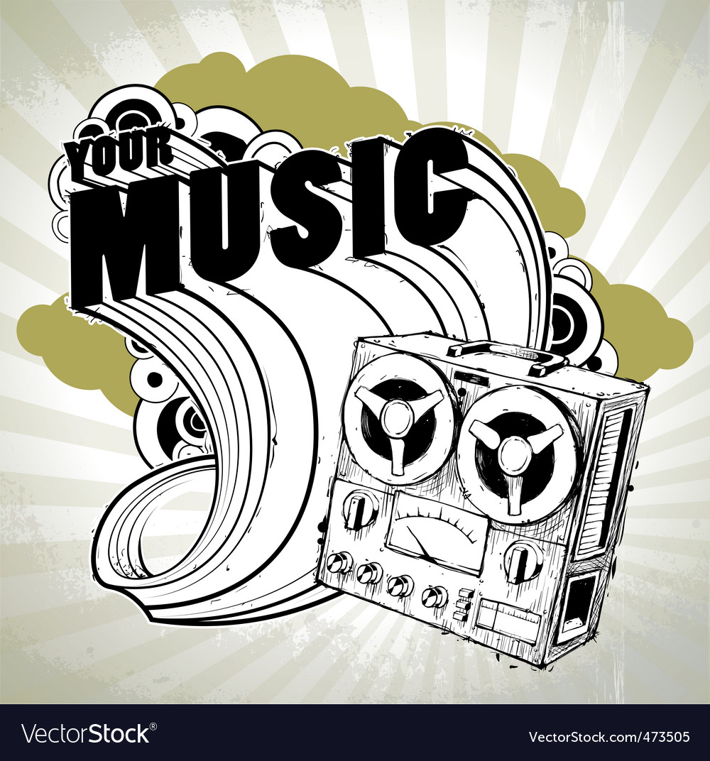 Hand drawn musical poster vector | Price: 3 Credit (USD $3)
