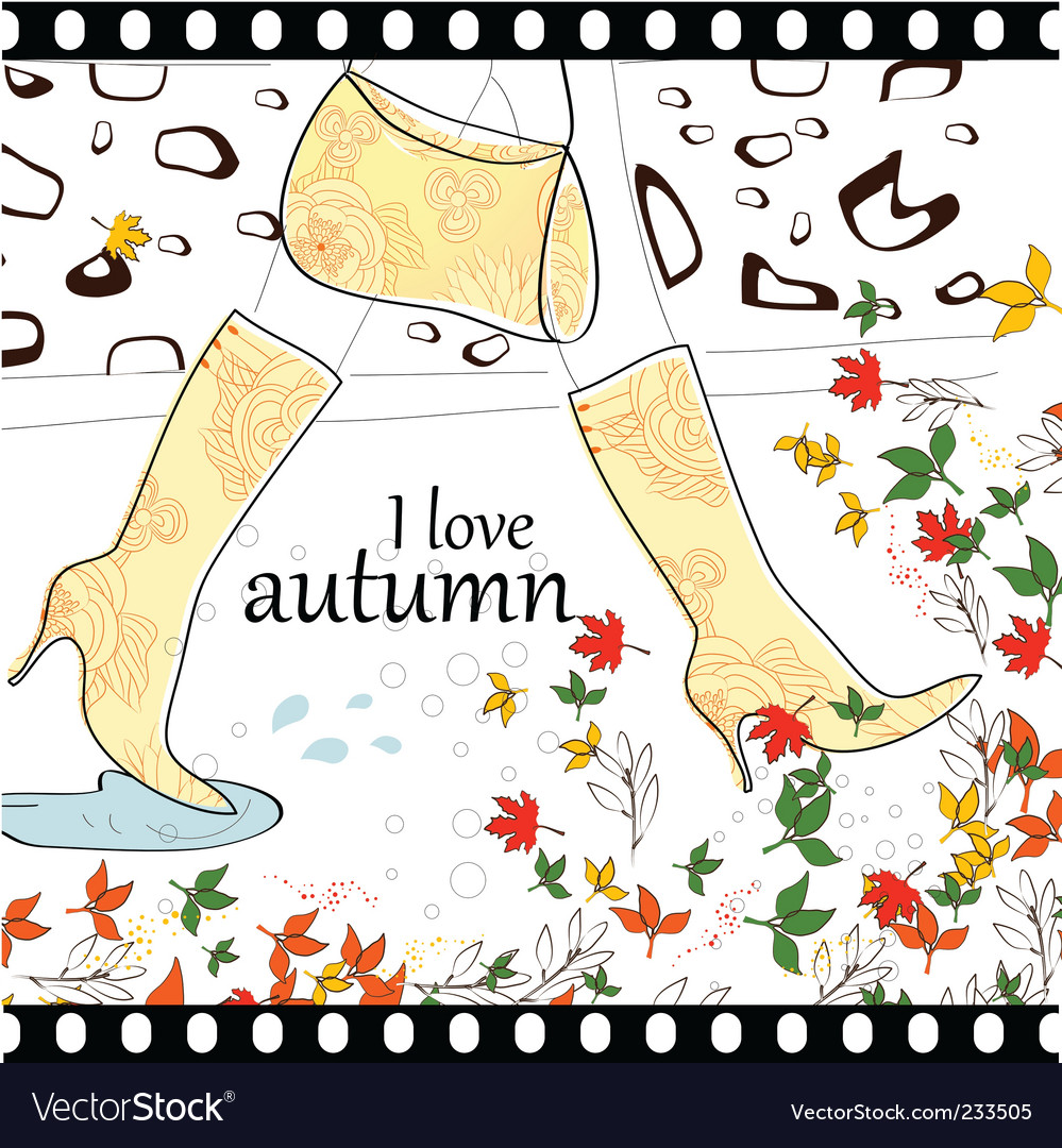 I love autumn background vector | Price: 1 Credit (USD $1)