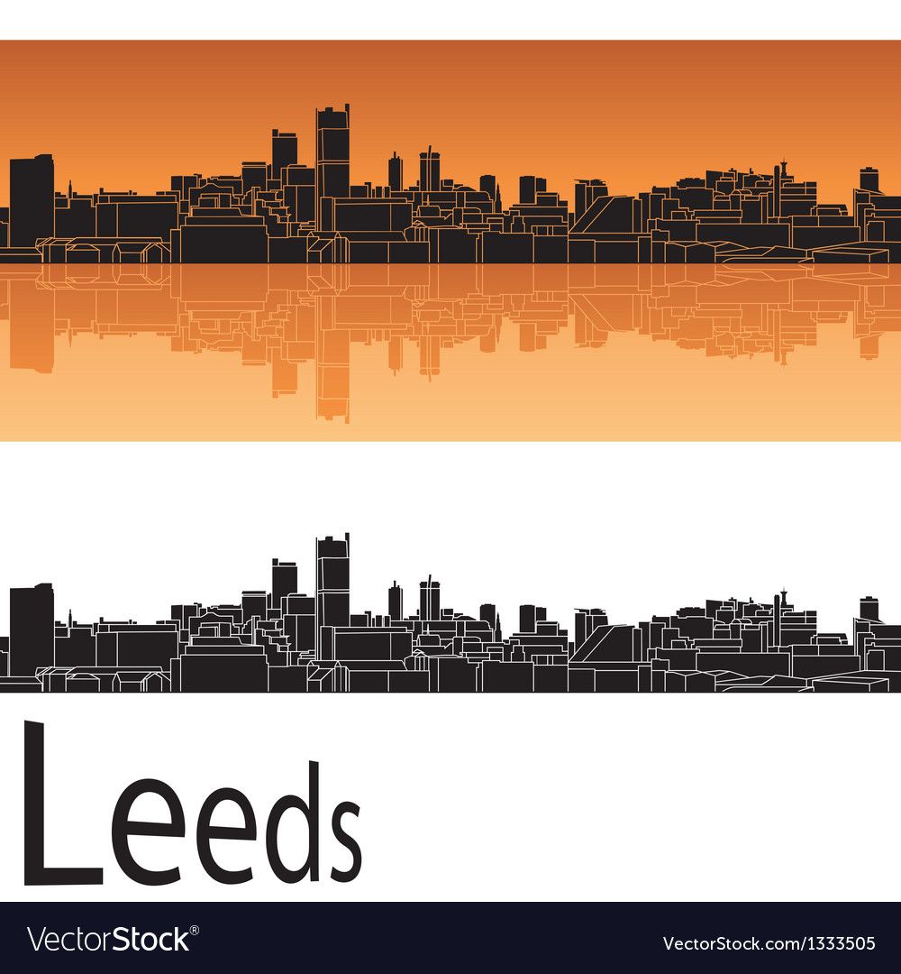 Leeds skyline in orange background vector | Price: 1 Credit (USD $1)
