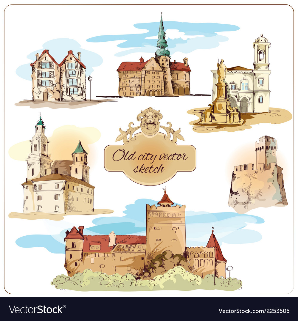 Old city sketch colored vector | Price: 1 Credit (USD $1)