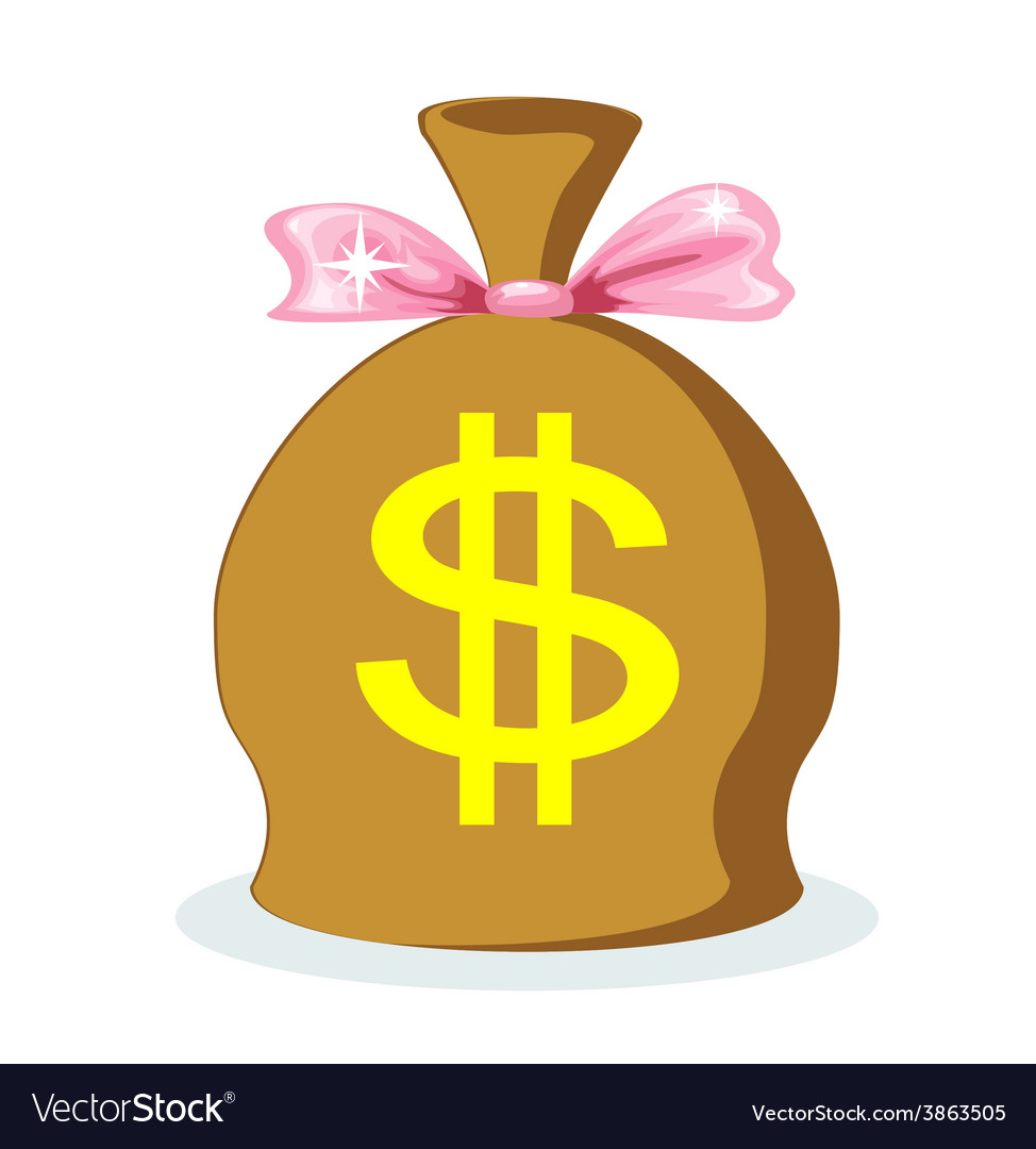 Sack of dollars with a pink bow vector | Price: 1 Credit (USD $1)