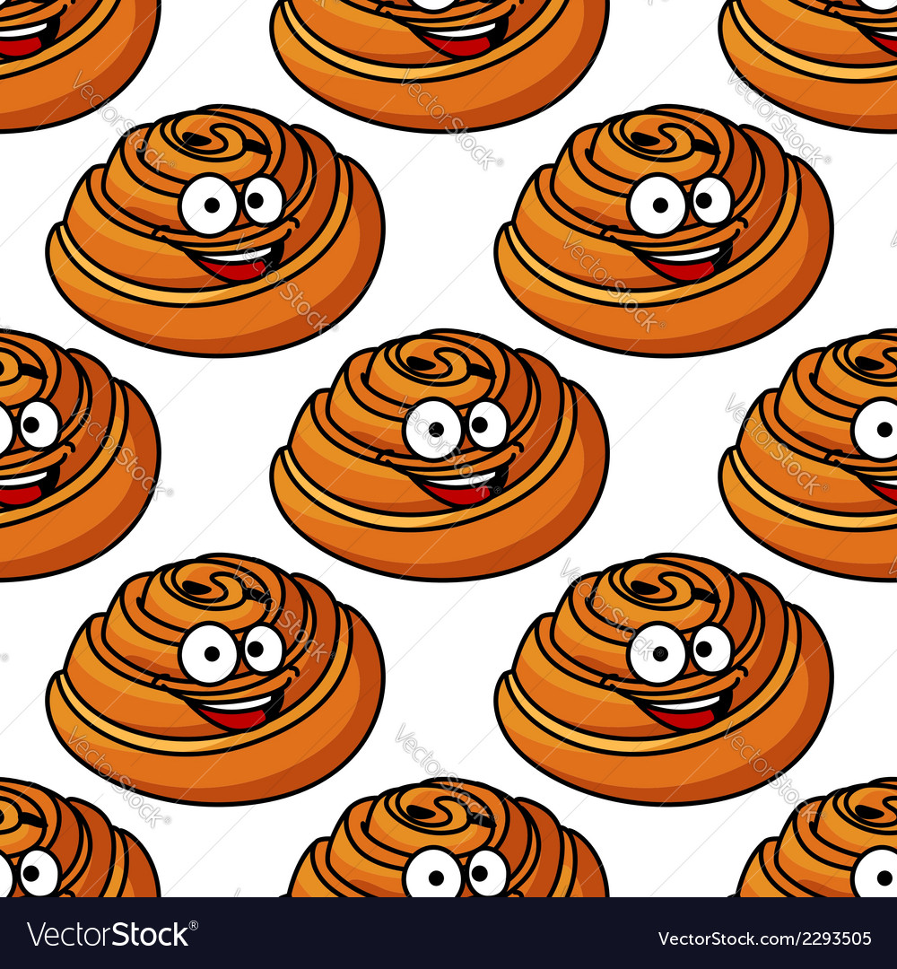 Seamless pattern of happy smiling danish pastries vector | Price: 1 Credit (USD $1)